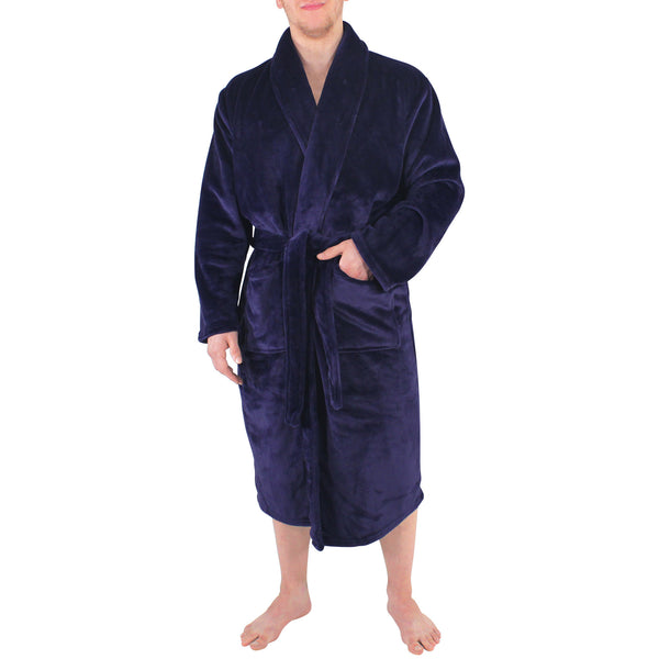 Hudson Home Collection Shawl Collar Plush Robe, Navy