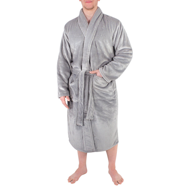 Hudson Home Collection Shawl Collar Plush Robe, Gray