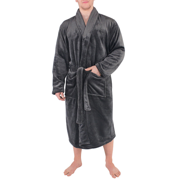 Hudson Home Collection Shawl Collar Plush Robe, Charcoal