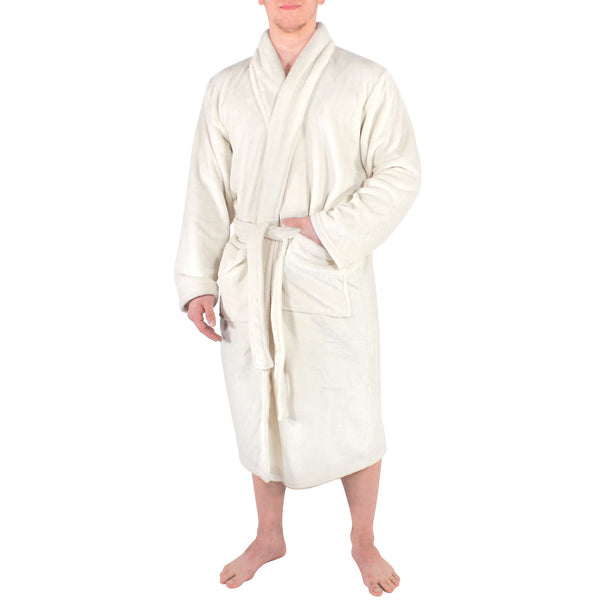 Hudson Home Collection Shawl Collar Plush Robe, Cream