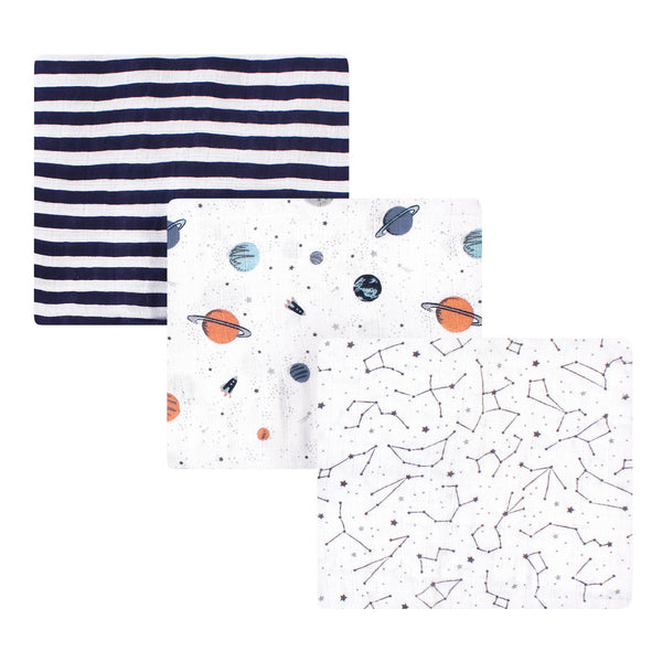 Hudson Baby Cotton Muslin Swaddle Blankets, Space