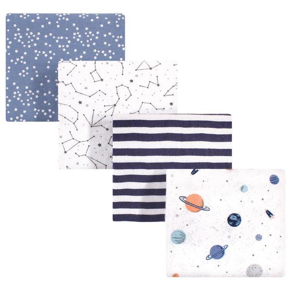 Hudson Baby Cotton Flannel Receiving Blankets, Space
