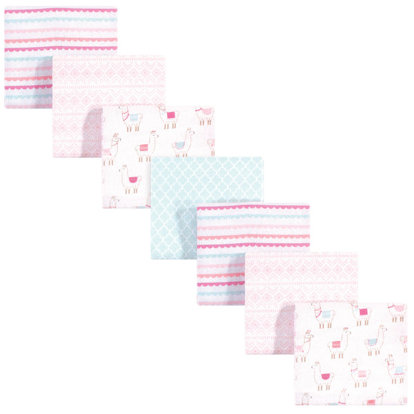 Hudson Baby Cotton Flannel Receiving Blankets Bundle, Llama