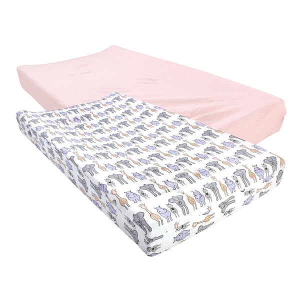 Hudson Baby Cotton Changing Pad Cover, Pink Safari