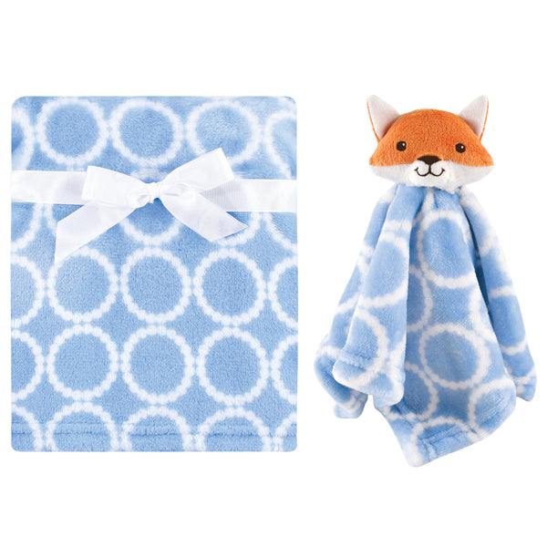 Hudson Baby Plush Blanket with Security Blanket, Blue Fox