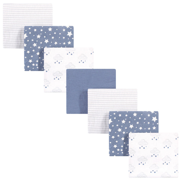 Hudson Baby Cotton Flannel Receiving Blankets Bundle, Cloud Mobile Blue