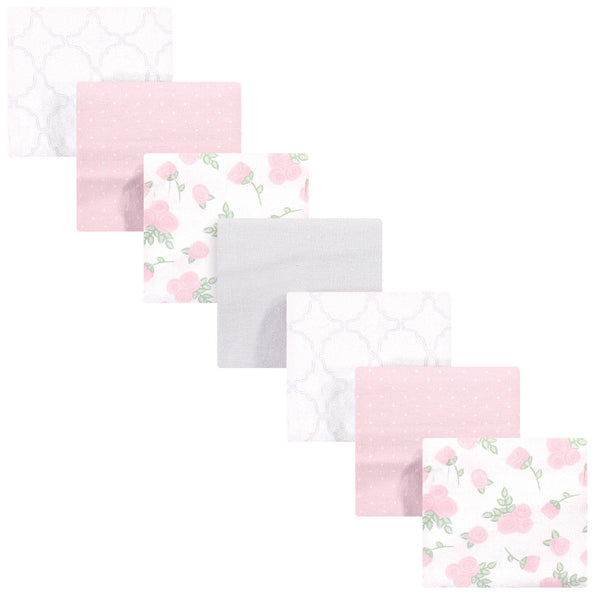 Hudson Baby Cotton Flannel Receiving Blankets Bundle, Pink Rose