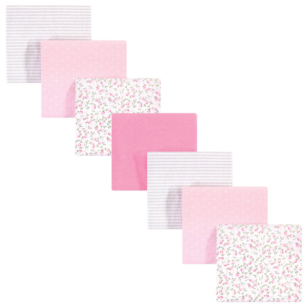 Hudson Baby Cotton Flannel Receiving Blankets Bundle, Pink Peony