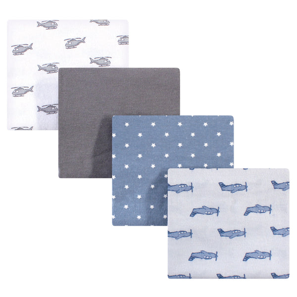 Hudson Baby Cotton Flannel Receiving Blankets, Airplanes Helicopters