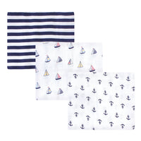 Hudson Baby Cotton Muslin Swaddle Blankets, Sailboat