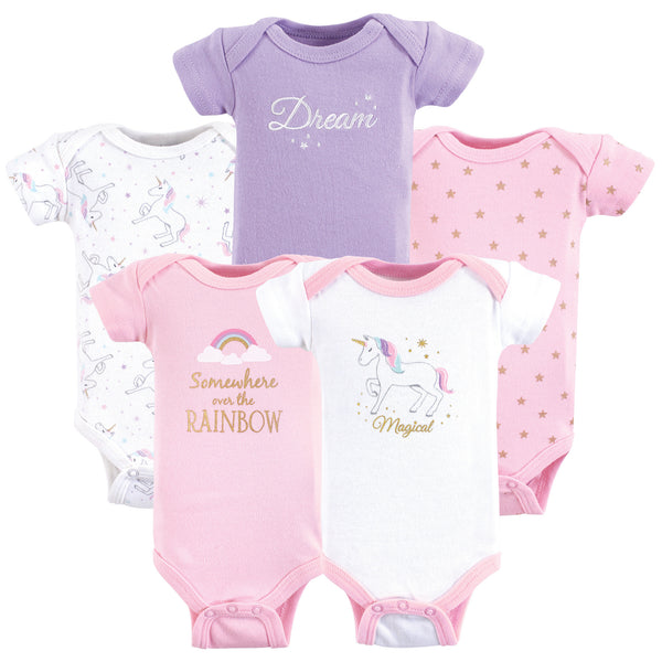 Hudson Baby Cotton Preemie Bodysuits, Magical Unicorn Short-Sleeve