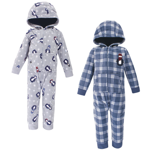 Hudson Baby Fleece Jumpsuits, Coveralls, and Playsuits, Blue Penguin Toddler