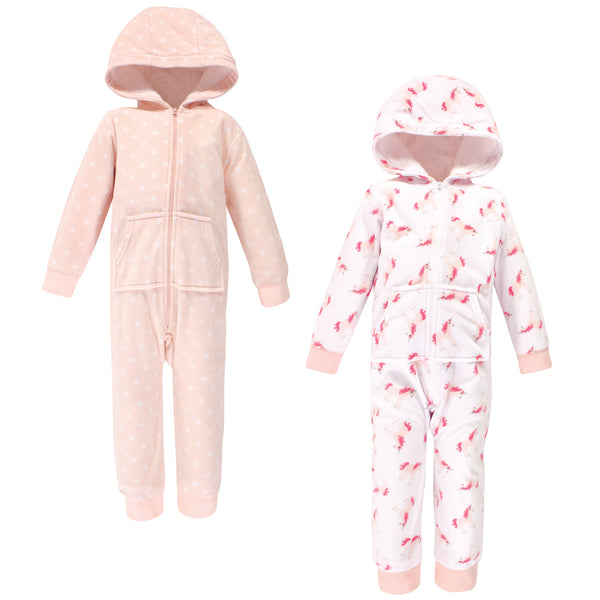 Hudson Baby Fleece Jumpsuits, Coveralls, and Playsuits, Pink Unicorn Toddler