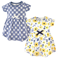 Touched by Nature Organic Cotton Short-Sleeve and Long-Sleeve Dresses, Baby Toddler Yellow Garden Short Sleeve