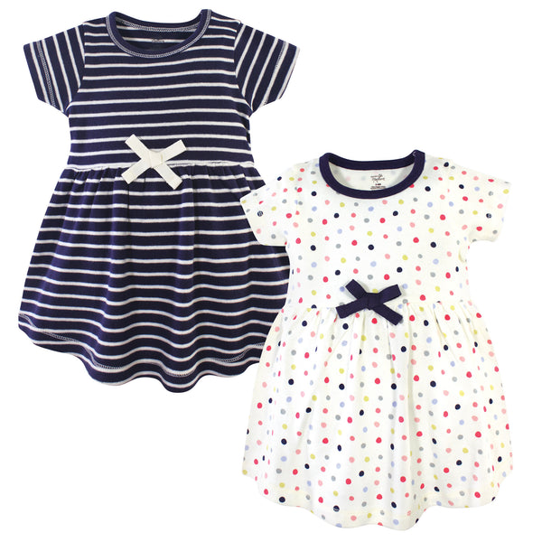 Touched by Nature Organic Cotton Short-Sleeve and Long-Sleeve Dresses, Baby Toddler Colorful Dot Short Sleeve