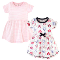 Touched by Nature Organic Cotton Short-Sleeve and Long-Sleeve Dresses, Baby Toddler Floral Dot Short Sleeve