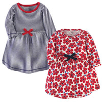 Touched by Nature Organic Cotton Short-Sleeve and Long-Sleeve Dresses, Baby Toddler Red Flowers Long Sleeve
