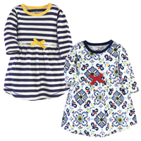 Touched by Nature Organic Cotton Short-Sleeve and Long-Sleeve Dresses, Baby Toddler Pottery Tile Long Sleeve