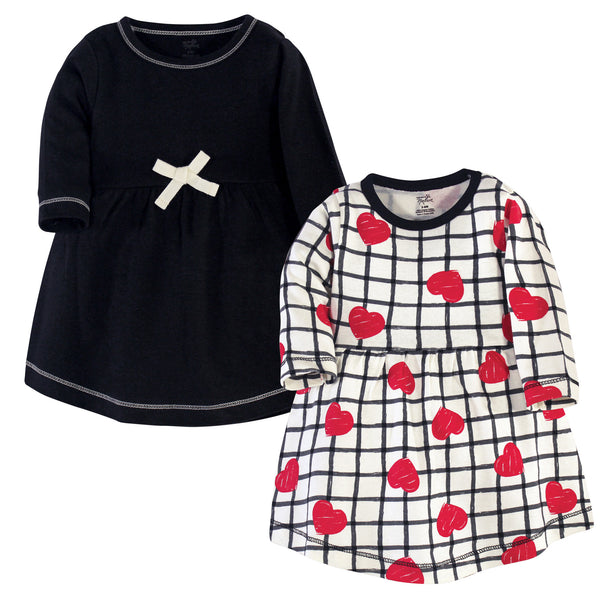 Touched by Nature Organic Cotton Short-Sleeve and Long-Sleeve Dresses, Baby Toddler Black Red Heart Long Sleeve