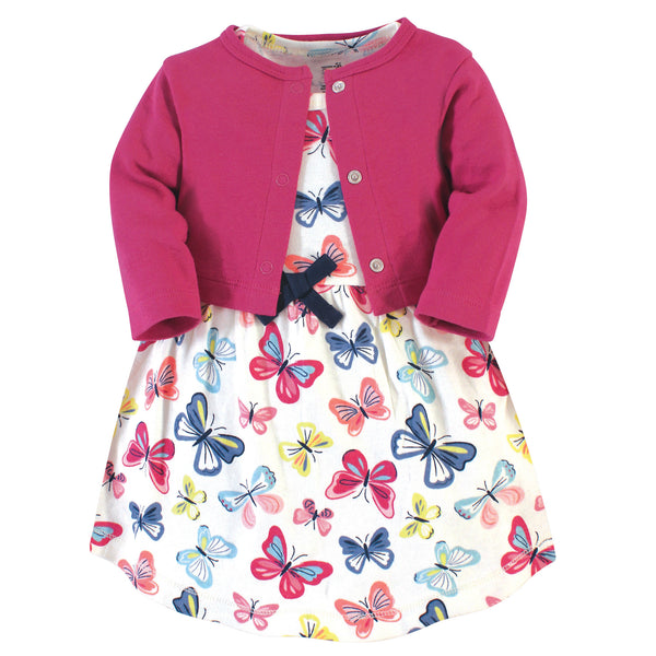 Touched by Nature Organic Cotton Dress and Cardigan, Bright Butterflies