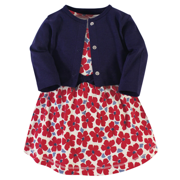 Touched by Nature Organic Cotton Dress and Cardigan, Red Flowers