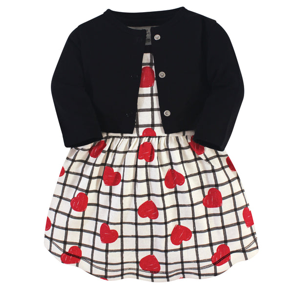Touched by Nature Organic Cotton Dress and Cardigan, Black Red Heart