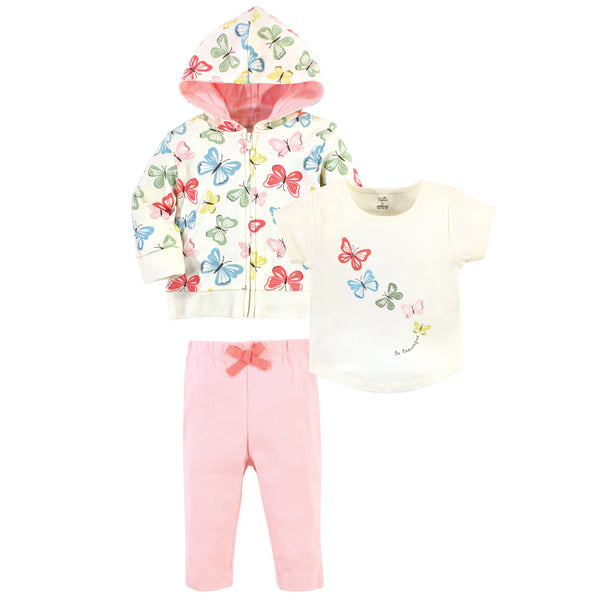 Touched by Nature Organic Cotton Hoodie, Bodysuit or Tee Top, and Pant, Butterflies Toddler