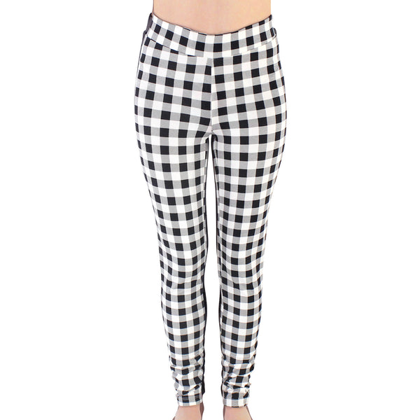Touched by Nature Organic Cotton Leggings, Black Plaid