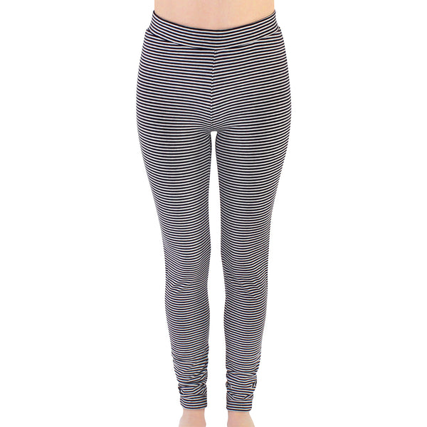 Touched by Nature Organic Cotton Leggings, Gray Black Stripe