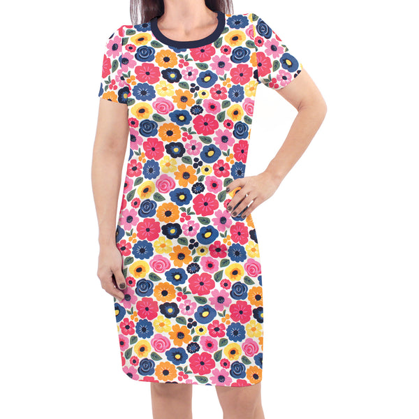 Touched by Nature Organic Cotton Short-Sleeve and Long-Sleeve Dresses, Women Bright Flowers Short Sleeve