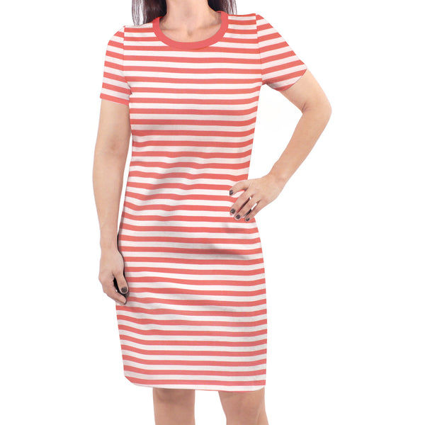 Touched by Nature Organic Cotton Short-Sleeve and Long-Sleeve Dresses, Women Coral Stripe Short Sleeve