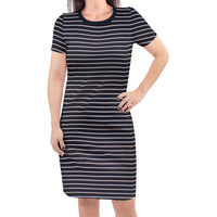 Touched by Nature Organic Cotton Short-Sleeve and Long-Sleeve Dresses, Women Black Stripe Short Sleeve