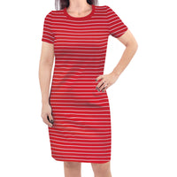 Touched by Nature Organic Cotton Short-Sleeve and Long-Sleeve Dresses, Women Red Stripe Short Sleeve