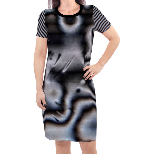 Touched by Nature Organic Cotton Short-Sleeve and Long-Sleeve Dresses, Women Black Heather Gray Short Sleeve