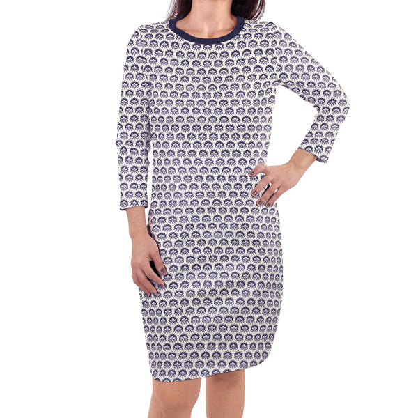 Touched by Nature Organic Cotton Short-Sleeve and Long-Sleeve Dresses, Women Navy Trellis Long Sleeve