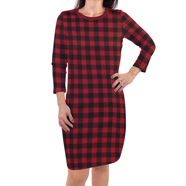 Touched by Nature Organic Cotton Short-Sleeve and Long-Sleeve Dresses, Women Buffalo Plaid Long Sleeve