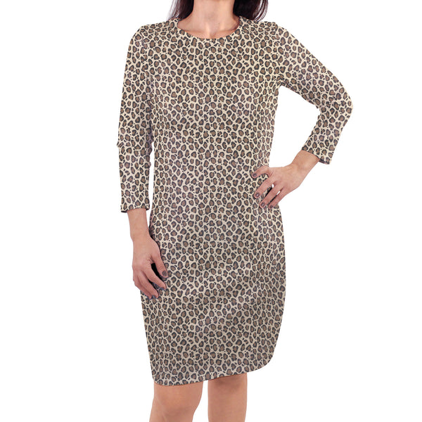Touched by Nature Organic Cotton Short-Sleeve and Long-Sleeve Dresses, Women Leopard Long Sleeve
