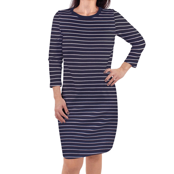 Touched by Nature Organic Cotton Short-Sleeve and Long-Sleeve Dresses, Women Navy Stripe Long Sleeve
