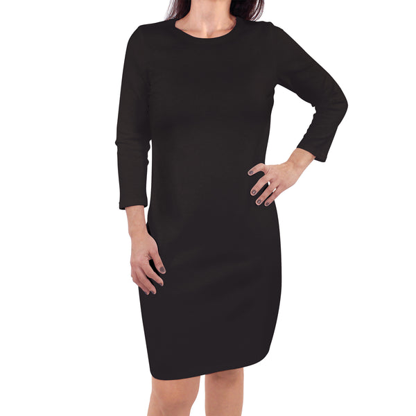 Touched by Nature Organic Cotton Short-Sleeve and Long-Sleeve Dresses, Women Black Long Sleeve