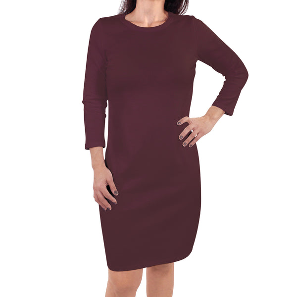 Touched by Nature Organic Cotton Short-Sleeve and Long-Sleeve Dresses, Women Burgundy Long Sleeve