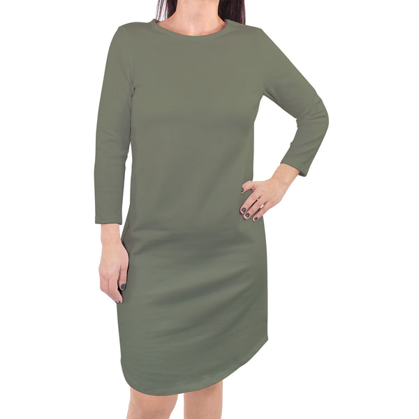 Touched by Nature Organic Cotton Short-Sleeve and Long-Sleeve Dresses, Women Olive Green Long Sleeve
