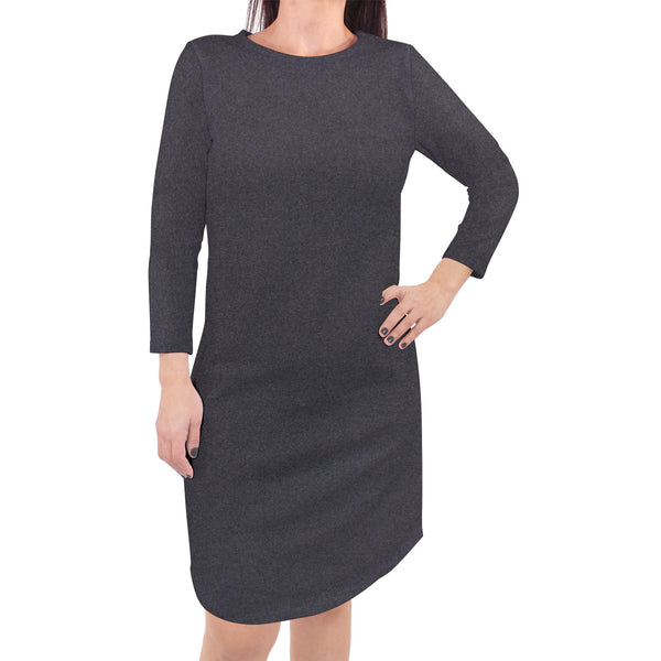 Touched by Nature Organic Cotton Short-Sleeve and Long-Sleeve Dresses, Women Charcoal Heather Long Sleeve