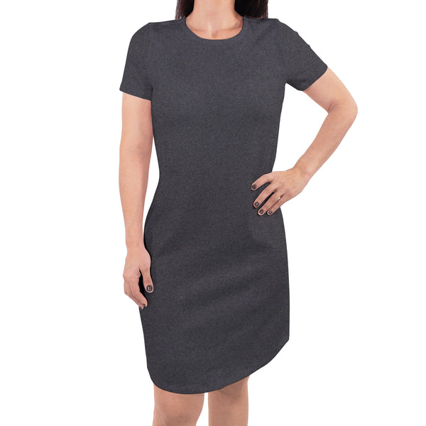 Touched by Nature Organic Cotton Short-Sleeve and Long-Sleeve Dresses, Women Charcoal Heather Short Sleeve