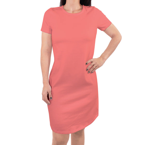 Touched by Nature Organic Cotton Short-Sleeve and Long-Sleeve Dresses, Women Shell Pink Short Sleeve