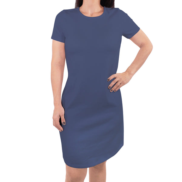 Touched by Nature Organic Cotton Short-Sleeve and Long-Sleeve Dresses, Women Bijou Blue Short Sleeve