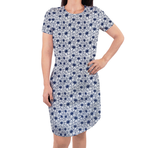 Touched by Nature Organic Cotton Short-Sleeve and Long-Sleeve Dresses, Women Daisy Short Sleeve