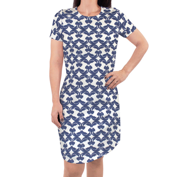 Touched by Nature Organic Cotton Short-Sleeve and Long-Sleeve Dresses, Women Damask Ikat Short Sleeve