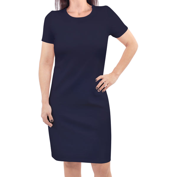 Touched by Nature Organic Cotton Short-Sleeve and Long-Sleeve Dresses, Women Navy Short Sleeve