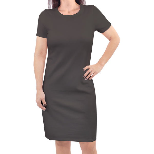Touched by Nature Organic Cotton Short-Sleeve and Long-Sleeve Dresses, Women Charcoal Short Sleeve