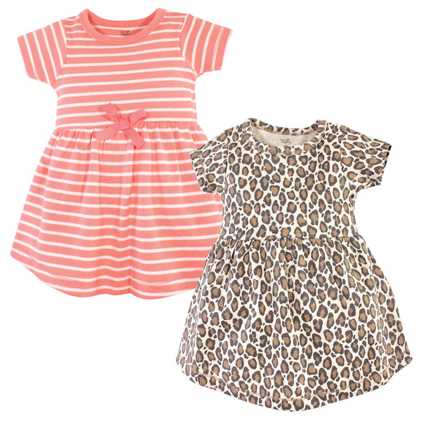 Touched by Nature Organic Cotton Short-Sleeve and Long-Sleeve Dresses, Youth Leopard Short-Sleeve